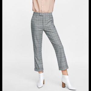 Zara Slim Fit Checkered Trousers